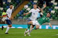 Press Eye - Belfast, Northern Ireland - 12th November 2020 - Photo by William Cherry/Presseye. Northern Ireland\'s Jordan Thompson with Slovakia\'s Ondrej Duda during Thursday nights UEFA Euro 2020 Play-Off Final at the National Football Stadium at Windsor Park.   Photo by William Cherry/Presseye