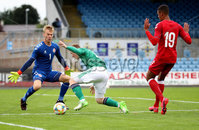 Press Eye - Belfast, Northern Ireland - 0th September 2020 - Photo by William Cherry/Presseye. Northern Ireland\'s Shayne Lavery with Denmark\'s Oliver Christensen and Frederik Alves Ibsen during Tuesday nights U21 Euro Qualifier at the Ballymena Showgrounds, Ballymena.      Photo by William Cherry/Presseye