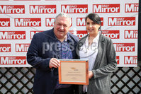 Press Eye - Belfast - Northern Ireland - 7th May 2018  - . May Day Meeting at Down Royal Racecourse.. DAILY MIRROR HANDICAP CHASE. Caroline Todd makes at the winning presentation to Graham Keys, owner of Drumconnor Lad.. Photo by Kelvin Boyes / Press Eye .