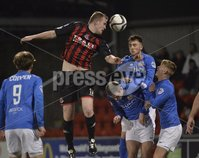 Press Eye - Northern Ireland -12th February 2016. Photograph:Presseye /Stephen Hamilton. Danske Bank Irish premier league match betweeen Crusaders and Glenavon at Seaview Belfast.. Crusaders Jordan Owens in action with Glenavons Conor Dillon