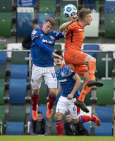 Danske Bank Premiership, National Football Stadium at Windsor Park, Belfast, Northern Ireland 17/10/2020. Linfield vs Carrick Rangers. Linfields Kyle McClean with Lloyd Anderson of Carrick Rangers. Mandatory Credit INPHO/Declan Roughan