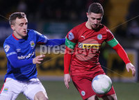 Danske Bank Premiership at Solitude, Belfast.  13.01.2020. Cliftonville FC vs Linfield FC. Cliftonvilles Seanan Foster with Linfields  Joel Cooper. Mandatory Credit INPHO/Jonathan Porter