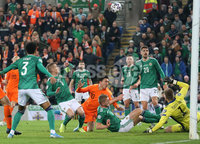 PressEye-Northern Ireland- 16th November 2019-Picture by Brian Little/PressEye. Northern Ireland   and Netherlands players in a goal mouth scramble during Saturday\'s EURO 2020 Qualifier at the National Football Stadium at Windsor Park.. Picture by Brian Little/PressEye