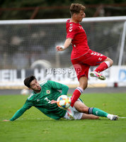 Press Eye - Belfast, Northern Ireland - 0th September 2020 - Photo by William Cherry/Presseye. Northern Ireland\'s Daniel Amos with Denmark\'s Carlo Holse during Tuesday nights U21 Euro Qualifier at the Ballymena Showgrounds, Ballymena.      Photo by William Cherry/Presseye