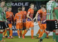 . Danske Bank Premiership,The Oval Belfast 14/11/2017. Glentoran v Glenavon. Mandatory Credit ©INPHO/Stephen Hamilton. Glenavons Andy Mitchell celebares after he headed his side level at 1-1