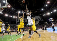 Press Eye - Belfast -  Northern Ireland - 02nd December 2017 - Photo by William Cherry/Presseye. Manhattan College\'s Aaron Walker with Towson College\'s Brian Starr during Saturday evenings Championship game of the Basketball Hall of Fame Belfast Classic at the SSE Arena, Belfast.  Photo by William Cherry/Presseye
