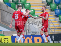 Danske Bank Premiership, Windsor Park, Belfast 9/2/2019. Linfield vs Coleraine. Coleraine\'s Gareth McConaghie celebrates scoring with teammates. Mandatory Credit INPHO/Matt Mackey