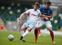 Danske Bank Premiership Play-off , Windsor Park, Belfast  7/4/2018. Linfield FC vs Ballymena United. Linfield\'s Matthew Clarke and  Conor McCloskey   of Ballymena United.. Mandatory Credit @INPHO/Brian Little