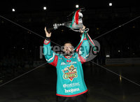 Press Eye - Belfast -  Northern Ireland - 10th March 2018 - Photo by William Cherry/Presseye. Belfast Giants captain Blair Riley with the Challenge Cup before Saturday evenings Elite Ice Hockey League game against Braehead Clan at the SSE Arena, Belfast.
