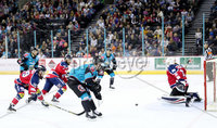 Press Eye - Belfast -  Northern Ireland - 14th September 2018 - Photo by William Cherry/Presseye. Belfast Giants\' Darcy Murphy with Dundee Stars\' Craig Holland during Friday nights Challenge Cup game at the SSE Arena, Belfast.       Photo by William Cherry/Presseye