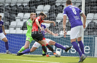24th August 2019. Danske Bank Premiership. Seaview Belfast. Crusaders v Larne.  Crusaders Philip Lowry fires the Crues into a 1-0 lead. Mandatory Credit : Stephen Hamilton/Inpho