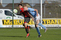 12th October 2019. Danske Bank Irish premiership. Ballymena v Crusaders at Warden Street.. Ballymena\'s Joshua Kelly in action with Crusaders Declan Caddell. Mandatory Credit -Inpho/Stephen Hamilton.