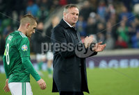 Press Eye - Belfast, Northern Ireland - 16th November 2019 - Photo by William Cherry/Presseye. Northern Ireland manager Micheal O\'Neill at the final whistle which could be the last time as the Manager at the National Stadium after Saturday nights UEFA Euro 2020 Qualifier against Netherlands at the National Stadium, Belfast.     Photo by William Cherry/Presseye