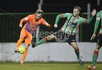 . Danske Bank Premiership,The Oval Belfast 14/11/2017. Glentoran v Glenavon. Mandatory Credit ©INPHO/Stephen Hamilton. Glentorans Tre Stirling   in action with Glenavons Mark Sykes