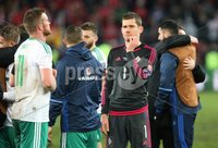 PressEye-Northern Ireland- 12th November  2017-Picture by Brian Little/ PressEye. Dejected Northern Ireland Michael McGovern after the final whistle  during Sunday night\'s FIFA  World Cup play-off  second leg match at St Jacob Park, Basel.. Picture by Brian Little/PressEye