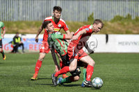 12th May 2018. Europa league play off final between Cliftonville and Glentoran at Solitude in Belfast.. Cliftonville\'s Liam Bagnall in action with Glentorans Marcus Kane . Mandatory Credit: Inpho/Stephen Hamilton