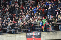 . Danske Bank Premiership Play-Off, Seaview, Belfast 14/4/2018 . Crusaders vs Linfield. Mandatory Credit ©INPHO/Stephen Hamilton. Crusaders fans pictured at the end of todays game