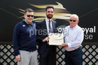 Press Eye - Belfast - Northern Ireland - 7th May 2018  - . May Day Meeting at Down Royal Racecourse.. PAT O\'HARE BOOKMAKERS MAIDEN HURDLE . Sean Lane, centre, from Pat O\'Hare Bookmakers makes a presentation to the winning owners of Canardier, Michael and Karl Slattery.. Photo by Kelvin Boyes / Press Eye .