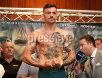 Press Eye - Belfast - Northern Ireland - 29th June 2018. Weigh in at the Europa Hotel in Belfast ahead of Michael Conlan\'s homecoming fight against Brazilian Adeilson Dos Santos at the SSE Arena on Saturday night. . Tyrone McKenna weighs in. . Picture by Jonathan Porter/PressEye