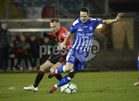 Danske Bank Premiership, The Showgrounds Newry 11/01/2019. Newry vs Crusaders. Newrys Thomas McCann  with Crusaders Rory Hale. Mandatory Credit INPHO/Stephen Hamilton.