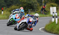 Mandatory Credit: Rowland White / PressEye. ULSTER GRAND PRIX. Venue: Dundrod. Date: 12th August 2017. Class: SUPERSTOCK RACE. Caption: Peter Hickman ahead of Dean Harrison