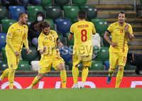 Press Eye-Belfast-Northern Ireland -18th November 2020. National Football Stadium at Windsor Park, Belfast. . 18/11/2020. Romania Eric Bicfalvi  celebrates  scoring  against Northern Ireland   during Wednesday   night\'s UEFA Nations League match at the National Football Stadium at Windsor Park,Belfast.. Mandatory Credit PressEye