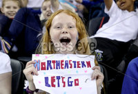 Press Eye - Belfast, Northern Ireland - 29th November 2019 - Photo by William Cherry/Presseye. Young fans cheer on their teams as Northeastern play New Hampshire during Friday afternoons Friendship Four game at the SSE Arena, Belfast. Photo by William Cherry/Presseye