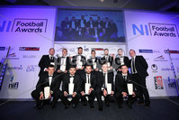 Press Eye - Belfast - Northern Ireland - 7th May 2018  - . NI Football Awards at the Crowne Plaza Hotel.. BLUEFIN SPORT CHAMPIONSHIP TEAM OF THE YEAR . Alyn Spratt from Bluefin with the Championship Team of the Year.. Photo by Kelvin Boyes / Press Eye .