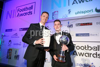 Press Eye - Belfast - Northern Ireland - 7th May 2018  - . NI Football Awards at the Crowne Plaza Hotel.. Jonny Evans and  Gavin Whyte.. Photo by Kelvin Boyes / Press Eye .