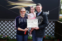 Press Eye - Belfast - Northern Ireland - 7th May 2018  - . May Day Meeting at Down Royal Racecourse.. BELFAST LIVE HURDLE. Mark Whyte and Emily Whyte make a presentation to Kate Harrington, winning owner of Moonshine Bay.. Photo by Kelvin Boyes / Press Eye .