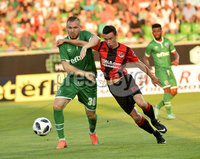 Wednesday 11th July 2018. UEFA Champions League First Qualifying Round First Leg between PFC Ludogorets Razgrad and Crusaders FC .. Ludogorets Cosmin losif Moti in action with Crusaders Paul Heatley. Mandatory Credit: Inpho/Stephen Hamilton