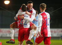 Tenants Country Antrim Shield Semi Final at Ballymena Showgrounds.  08.01.2019. Ballymena United v Linfield FC. Linfield\'s Andrew Waterworth(centre) celebrates after scoring to make it 0-2. . Mandatory CreditINPHO/PressEye.com/Jonathan Porter.