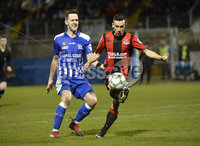 Danske Bank Premiership, The Showgrounds Newry 11/01/2019. Newry vs Crusaders. Newrys Thomas McCann with Crusaders PaulHeatley. Mandatory Credit INPHO/Stephen Hamilton.