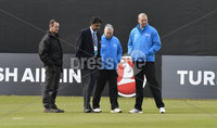 Turkish Airlines One Day International Challenge, Stormont, Belfast 13/9/2017. Ireland vs West Indies. Umpires Mark Hawthorne and Michael Gough with referee Javagal Srinath as groundsman Philip McCormick awaits their decision. Mandatory Credit ©INPHO/Rowland White