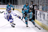 Press Eye - Belfast, Northern Ireland - 06th March 2020 - Photo by William Cherry/Presseye. Belfast Giants\' Bobby Farnham with Fife Flyers\' Bari McKenzie during Friday nights Elite Ice Hockey League game at the SSE Arena, Belfast.   Photo by William Cherry/Presseye