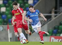 Tennent\'s Irish Cup Quarter-Final, Windsor Park, Belfast 13/3/2018 . Linfield vs Cliftonville. Linfield\'s Jamie Mulgrew with Conor McDonald of Cliftonville. Mandatory Credit ©INPHO/Jonathan Porter