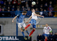Danske Bank Premiership, Mourneview Park, Co. Armagh 3/4/2018 . Glenavon vs Linfield. Mandatory Credit ©INPHO/William Cherry. Glenavon\'s Simon Kelly with Linfield\'s Andrew Waterworth