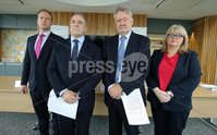 Press Eye - Belfast - Northern Ireland -  8th October 2018 - . Independent Neurology Inquiry. Today Monday 08/10/2018, the Chairman of the Independent Neurology Inquiry Panel, Mr Brett Lockhart QC and his co-panellist Professor Hugo Mascie-Taylor, announced the details of the Inquirys public engagement process for patients, former patients, relatives of patients and health care workers who have had experience of neurology services in the Greater Belfast area before or since 2008 up until June 2018..  . Mark Scott, The Chairperson, Mr Brett Lockhart QC,  Panel Member, Professor Hugo Mascie-Taylor and Geraldine Quinn are pictured at the press conference. . Photo by Kelvin Boyes  / Press Eye..