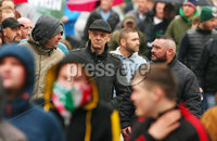 Press Eye - Belfast - Northern Ireland - 5th October 2019. Newry Republican Commemoration Committee parade through the town to Raymond McCreesh park to commemorate the hunger striker.  IRA volunteer Raymond McCreesh died in May 1981 as part of the Republican hunger strikes which seen 10 men die in the Maze prison.  A children\'s playpark in Newry was recently named after him. . Thomas Mellon right and Fergal Melaugh, centre at the parade..