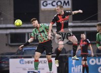 Danske Bank Premiership, Seaview Belfast.. Co Antrim 02/12/17. Crusaders v Glentoran. Mandatory Credit ©INPHO/Stephen Hamilton. Crusaders Jordan Owens  in action with Glentorans Kym Nelson.