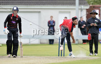 . Press Eye Belfast - Northern Ireland 12th August 2017.  Waringstown v Pembroke - Irish Cup Semi Final at the Lawn.. Shaheen Khan bowling for Waringstown..   Photo by Stephen  Hamilton / Press Eye