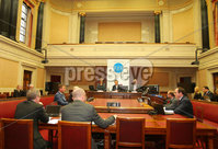Press Eye -Belfast - Northern Ireland - 7th November 2017 . Public inquiry into a green energy scheme, the Renewable Heat Incentive, begins in the Senate Chamber today and is expected to run for a number of months. . Left to right. Statutory Inquiry Panel Member Dame Una O'Brien, Chairman Sir Patrick Coghlin and Technical Assessor to the Inquiry Dr Keith MacLean take their seats as the inquiry begins. . Photo by Jonathan Porter / Press Eye..