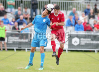 Press Eye - Belfast - Northern Ireland - 27th July 2018. SuperCupNI Cup International Youth Football Tournament at Ballymena\'s Showgrounds.  Supercut Final.  B Italia Vs Co. Down.. B Italia\'s Cella Stefano with Co. Down\'s Ross Weatherup. Picture by Jonathan Porter/PressEye