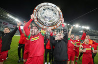 County Antrim Shield Final -  Windsor Park.  21.01.20. Cliftonville FC vs Ballymena United. Cliftonville celebrate after wining the final 2-1 and lift the shield. . Mandatory Credit INPHO/Jonathan Porter
