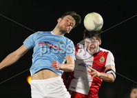 Danske Bank Premiership, Showgrounds, Ballymena. 14/2/2020. Ballymena United  vs Linfield FC. Ballymena United\'s Adam Lecky  and Jimmy Callacher of Linfield.. Mandatory Credit  INPHO/Brian Little