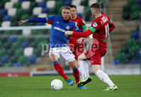 Press Eye - Belfast, Northern Ireland - 29th October 2019 - Photo by William Cherry/Presseye. Linfield\'s Kirk Millar with Cliftonville\'s Rory Donnelly during Tuesday nights BetMcLean League Cup game at Windsor Park, Belfast.     Photo by William Cherry/Presseye
