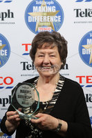 Press Eye - Belfast - Northern Ireland . 2012 Belfast Telegraph Making The Difference Awards  supported by TESCO.. Best Volunteer Award presented by Majella McCloskey, Chief Executive, CO3 (Chief Officers 3rd Sector) to winner  - Betty Campbell.  Mandatory credit: Picture by Brian Thompson/ Presseye.com. . .