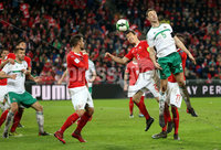 Press Eye - Belfast -  Northern Ireland - 12th November 2017 - Photo by William Cherry/Presseye. Northern Ireland\'s Jonny Evans with Switzerland\'s Stephan Lichtsteiner during Sunday nights World Cup Play Off 2nd leg game at St. Jakob-Park, Basel.