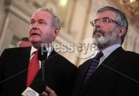 Northern Ireland- 11th June 2012 Mandatory Credit - Photo-Jonathan Porter/Presseye.  Sinn Fein hold press conference at the Great Hall in Stormont\'s Parliament Buildings in relation to political parties holding dual mandates.  Sinn Fein\'s Martin McGuinness and Party President Gerry Adams.