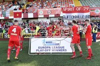 12th May 2018. Europa league play off final between Cliftonville and Glentoran at Solitude in Belfast.. Cliftonville\'s team celebrate after winning a place in the Europa league. Mandatory Credit: Inpho/Stephen Hamilton